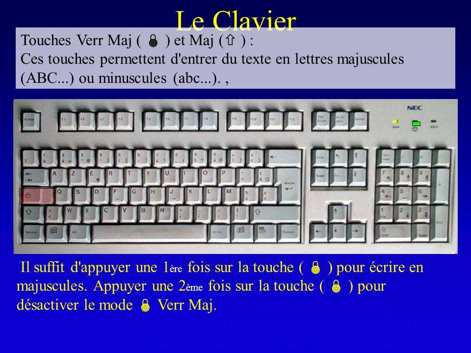 Le Clavier Il suffit d'appuyer une 1 ère fois sur la touche ( ) pour écrire en majuscules. Appuyer une 2 ème fois sur la touche ( ) pour désactiver le