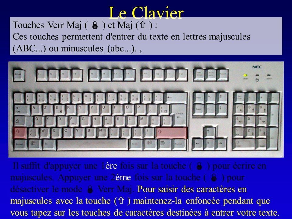 Le Clavier Touches Verr Maj ( ) et Maj ( ) : Ces touches permettent d'entrer du texte en lettres majuscules (ABC...) ou minuscules (abc...)., Il suffi
