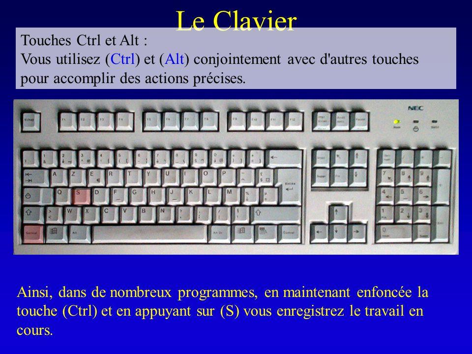 Le Clavier Touches Ctrl et Alt : Vous utilisez (Ctrl) et (Alt) conjointement avec d'autres touches pour accomplir des actions précises. Ainsi, dans de
