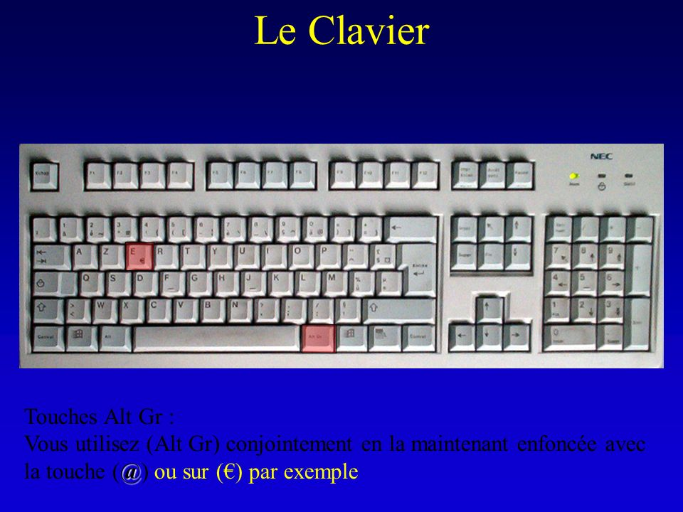 Le Clavier Touches Alt Gr : @ Vous utilisez (Alt Gr) conjointement en la maintenant enfoncée avec la touche (@) ou sur () par exemple