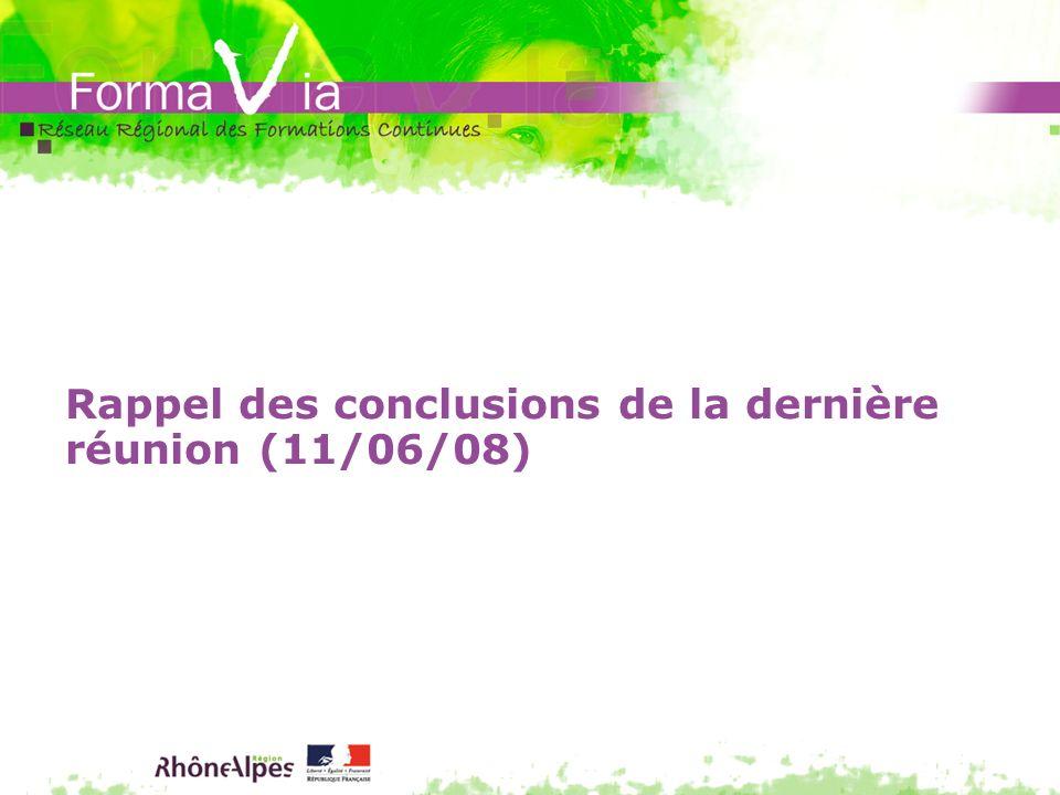 Rappel des conclusions de la dernière réunion (11/06/08)