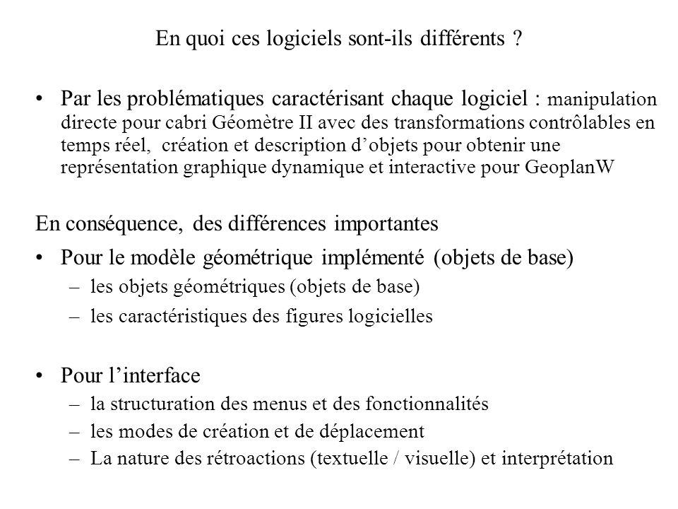 Les choix des séances dinitiation de Launay et de Fauqueux (2) Institutionnalisation de quelques connaissances instrumentales liées au logiciel Geopla