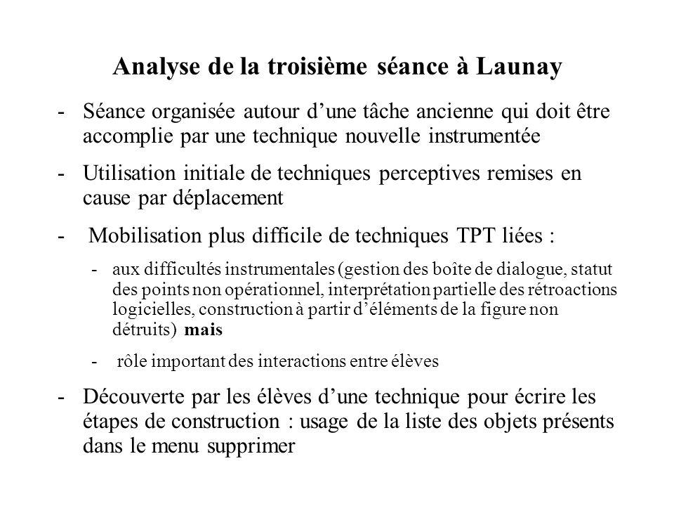 Analyse de la deuxième séance à Launay -Séance organisée autour dune tâche ancienne qui doit être accomplie par une technique nouvelle instrumentée -U