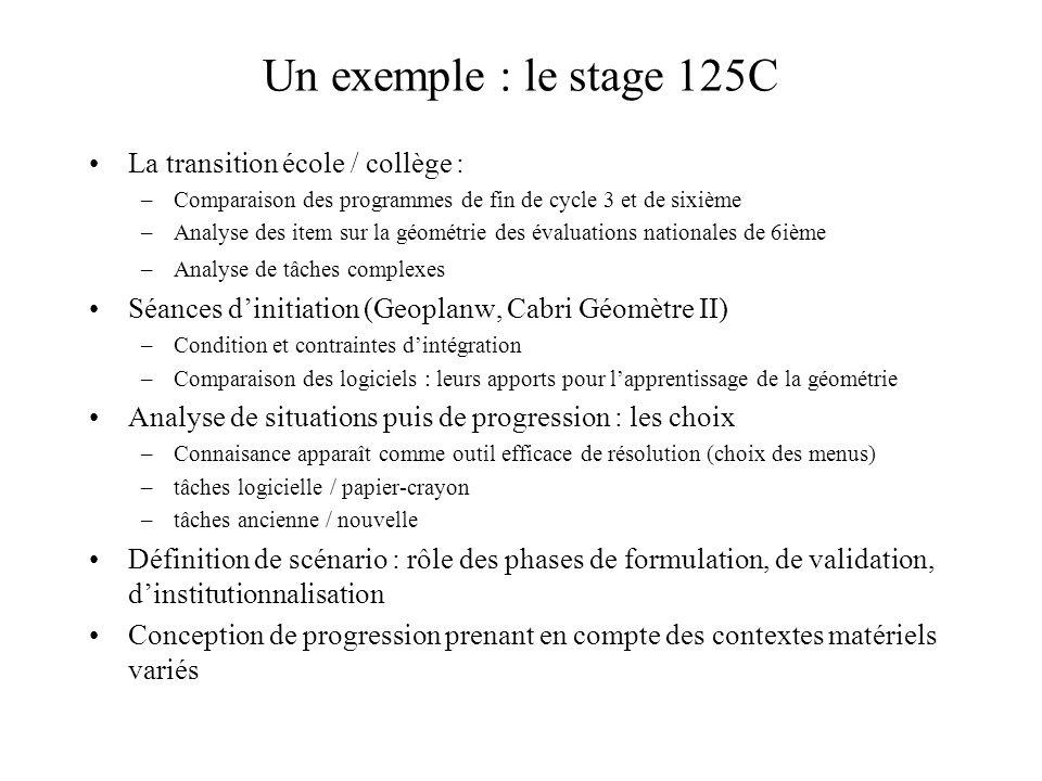 Contenus de formation : un exemple Des dispositifs de formation pour travailler : la transition école / collège –Ruptures et continuités en géométrie