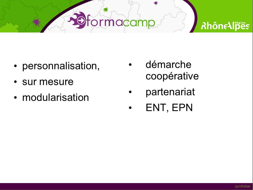 personnalisation, sur mesure modularisation démarche coopérative partenariat ENT, EPN