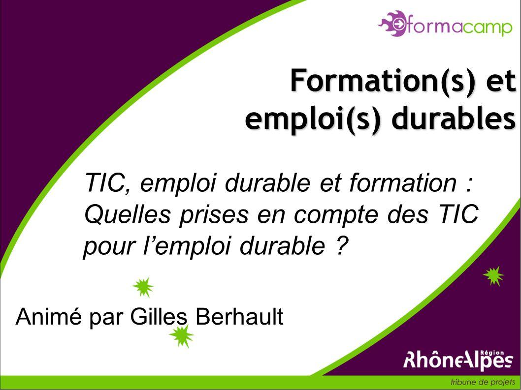 TIC, emploi durable et formation : Quelles prises en compte des TIC pour lemploi durable ? Formation(s) et emploi(s) durables Animé par Gilles Berhaul