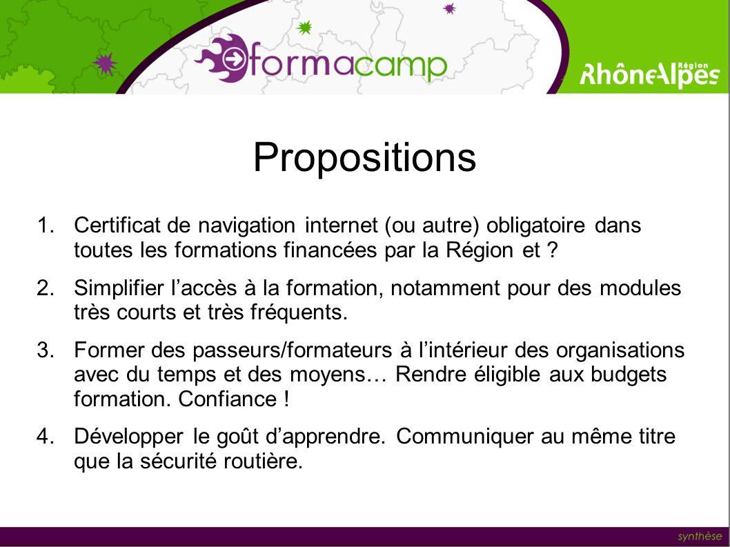 Propositions 1.Certificat de navigation internet (ou autre) obligatoire dans toutes les formations financées par la Région et ? 2.Simplifier laccès à