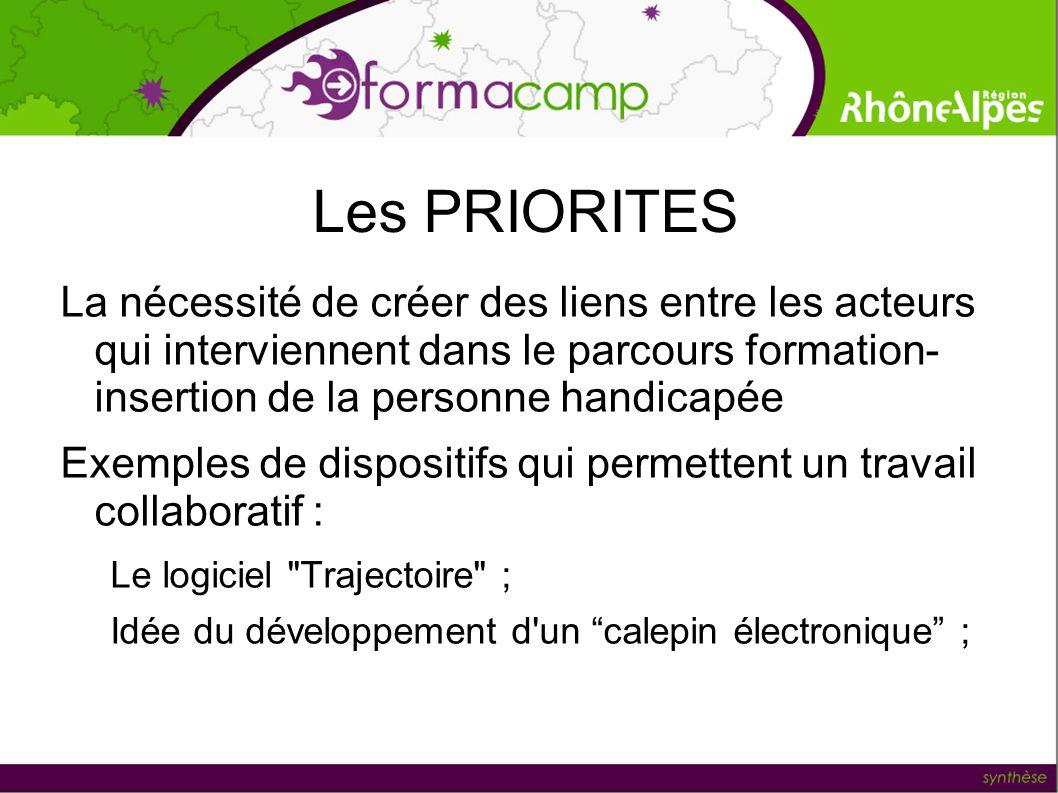 Les PRIORITES La nécessité de créer des liens entre les acteurs qui interviennent dans le parcours formation- insertion de la personne handicapée Exem