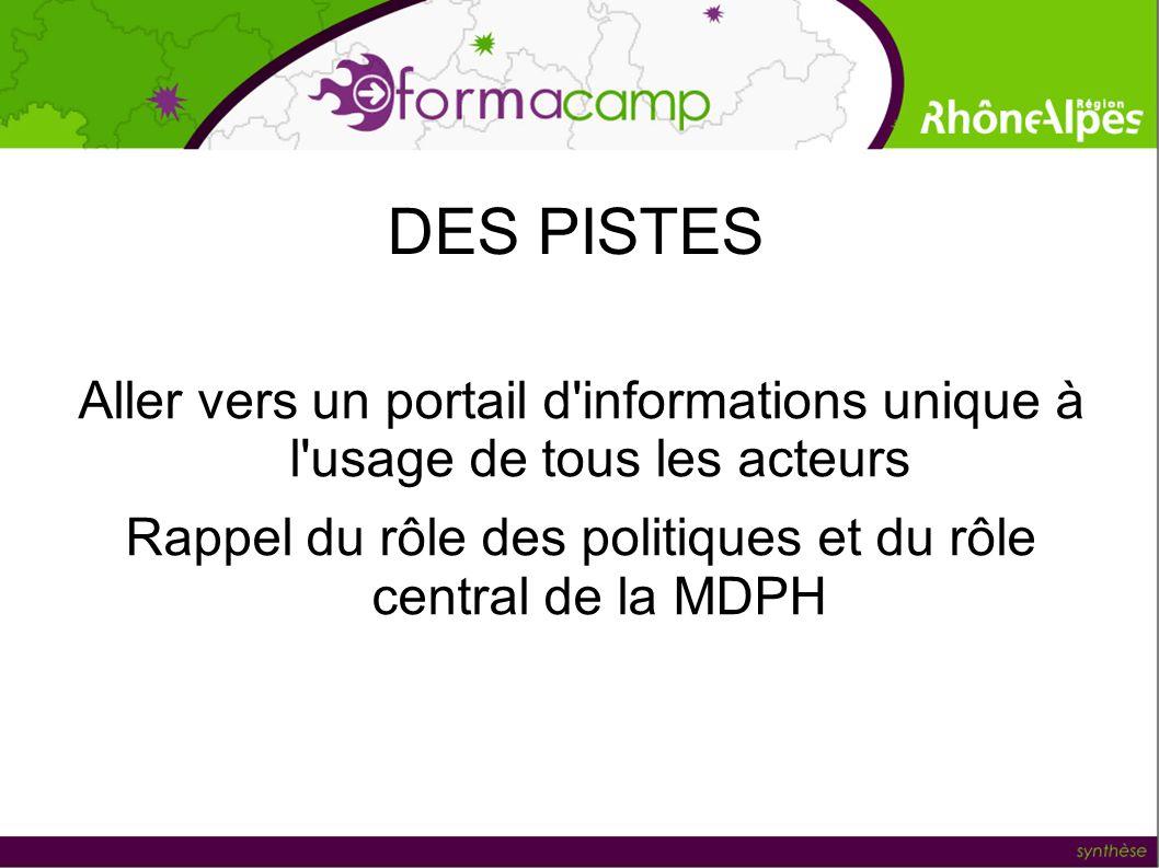 DES PISTES Aller vers un portail d'informations unique à l'usage de tous les acteurs Rappel du rôle des politiques et du rôle central de la MDPH