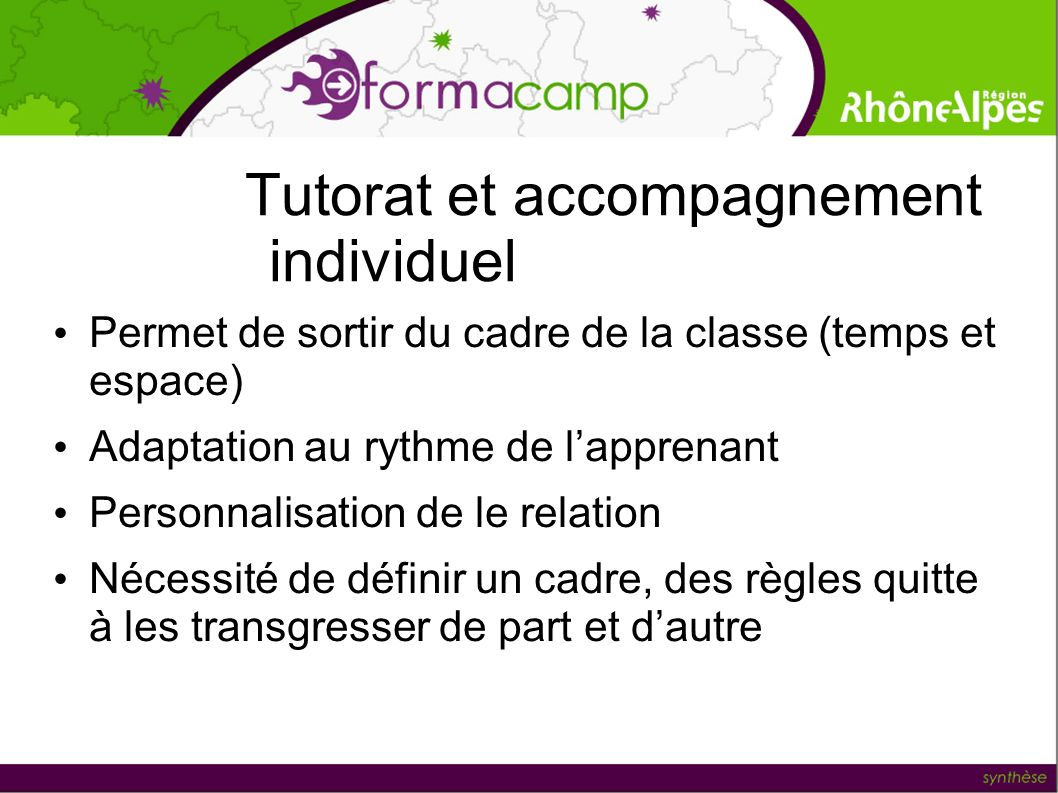 Tutorat et accompagnement individuel Permet de sortir du cadre de la classe (temps et espace) Adaptation au rythme de lapprenant Personnalisation de l