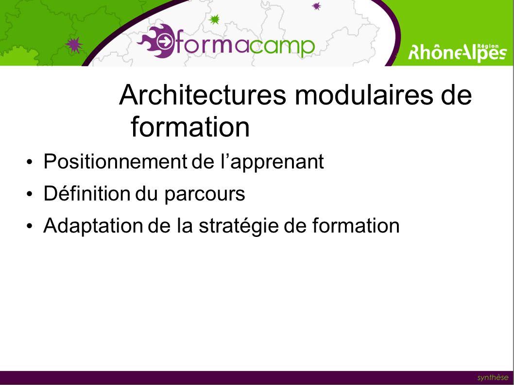 Architectures modulaires de formation Positionnement de lapprenant Définition du parcours Adaptation de la stratégie de formation