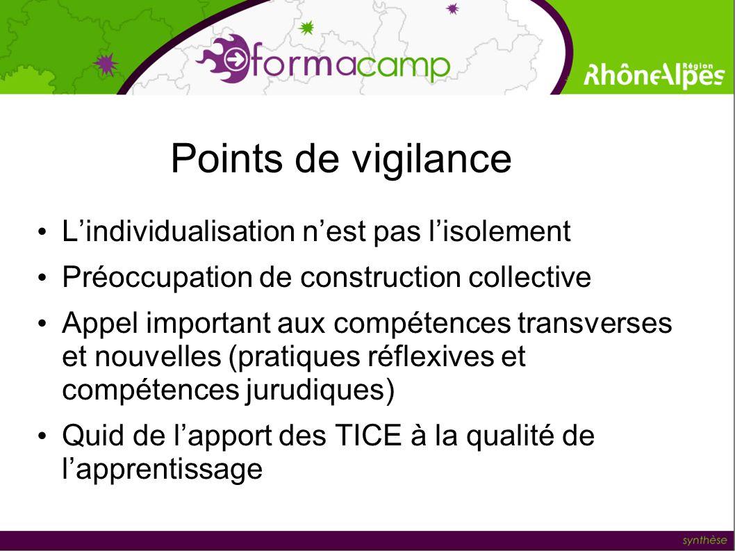 Points de vigilance Lindividualisation nest pas lisolement Préoccupation de construction collective Appel important aux compétences transverses et nou