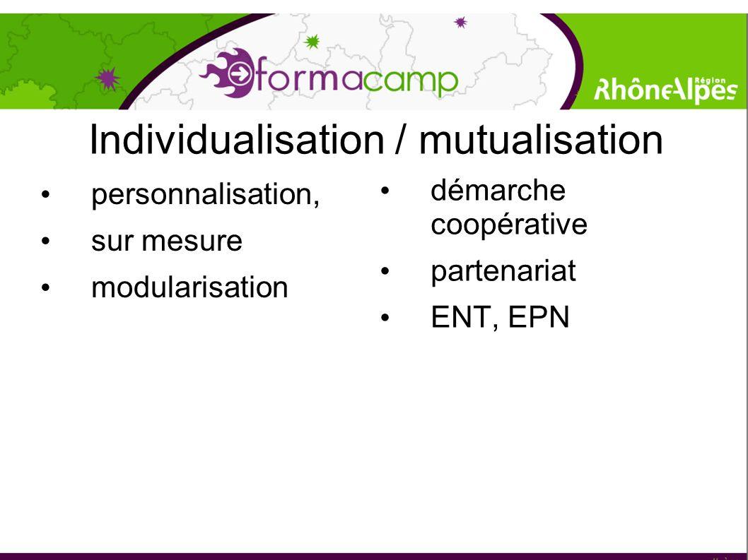 Individualisation / mutualisation personnalisation, sur mesure modularisation démarche coopérative partenariat ENT, EPN