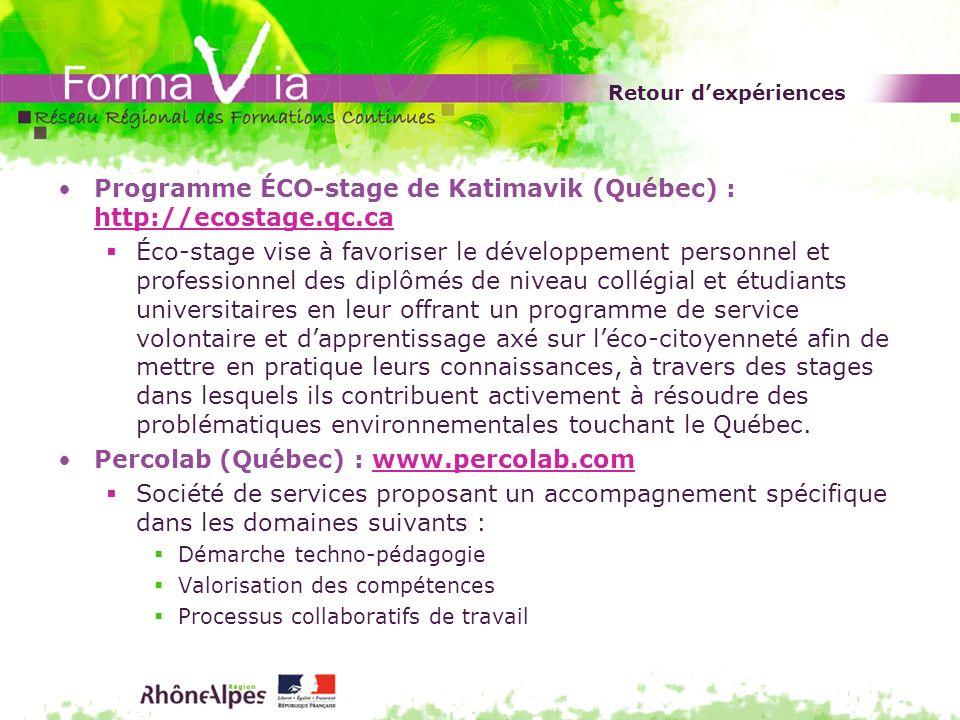 Retour dexpériences Programme ÉCO-stage de Katimavik (Québec) : http://ecostage.qc.ca http://ecostage.qc.ca Éco-stage vise à favoriser le développemen
