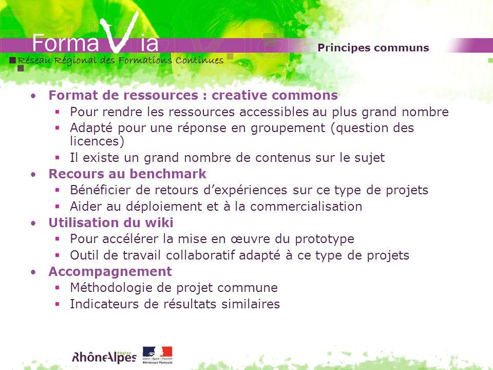 Principes communs Format de ressources : creative commons Pour rendre les ressources accessibles au plus grand nombre Adapté pour une réponse en group