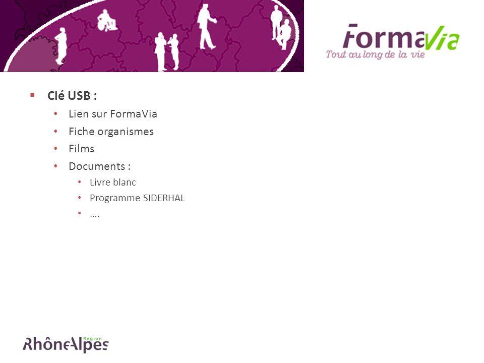 Clé USB : Lien sur FormaVia Fiche organismes Films Documents : Livre blanc Programme SIDERHAL ….