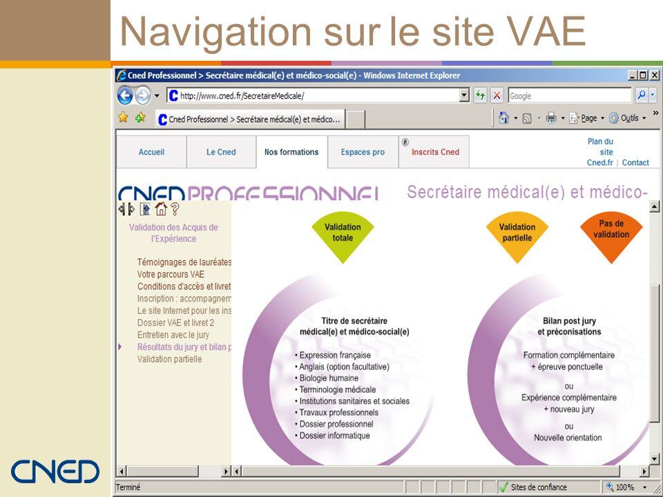 Navigation sur le site VAE