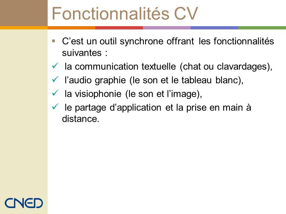 Fonctionnalités CV Cest un outil synchrone offrant les fonctionnalités suivantes : la communication textuelle (chat ou clavardages), laudio graphie (l