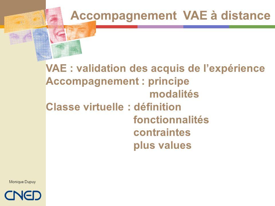 VAE : validation des acquis de lexpérience Accompagnement : principe modalités Classe virtuelle : définition fonctionnalités contraintes plus values M