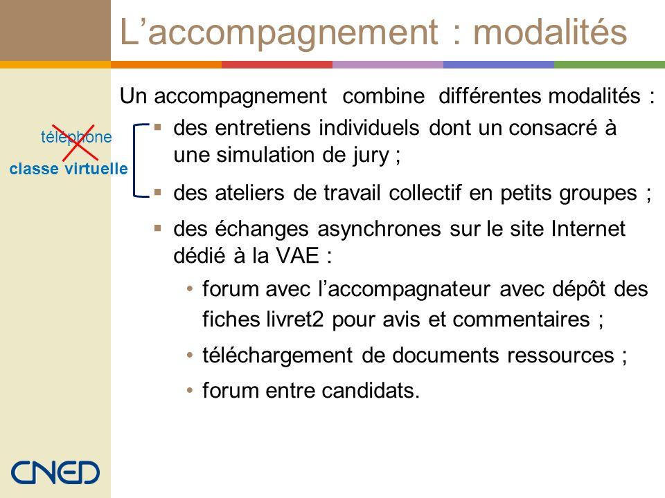 Laccompagnement : modalités Un accompagnement combine différentes modalités : des entretiens individuels dont un consacré à une simulation de jury ; d