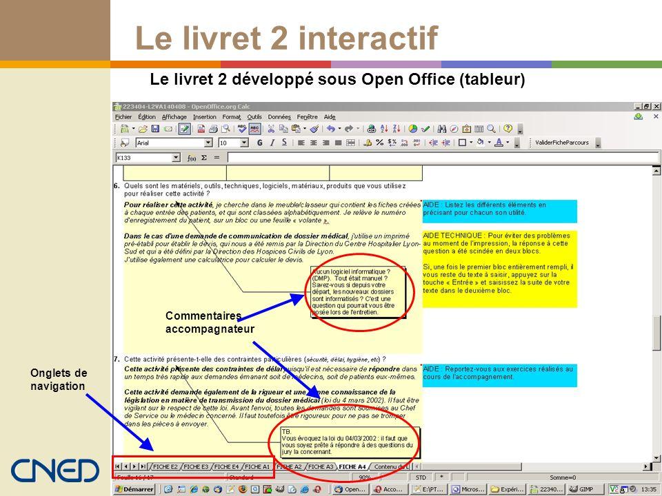 Le livret 2 sous tableur Open office Le livret 2 interactif Le livret 2 développé sous Open Office (tableur) Commentaires accompagnateur Onglets de na
