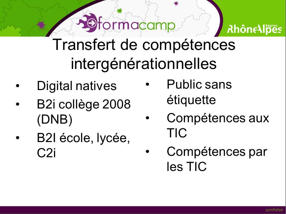 Transfert de compétences intergénérationnelles Digital natives B2i collège 2008 (DNB) B2I école, lycée, C2i Public sans étiquette Compétences aux TIC Compétences par les TIC