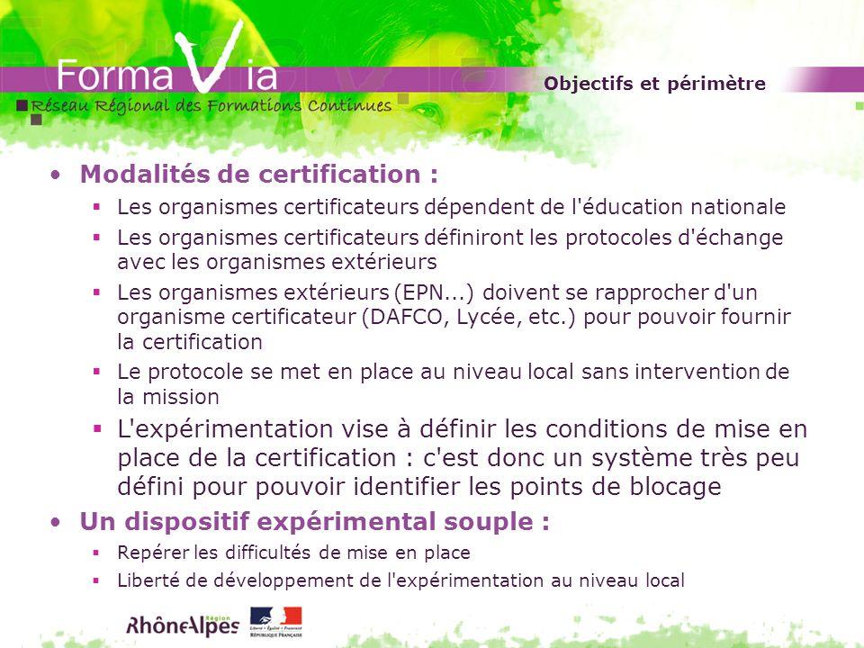 Objectifs et périmètre Modalités de certification : Les organismes certificateurs dépendent de l'éducation nationale Les organismes certificateurs déf