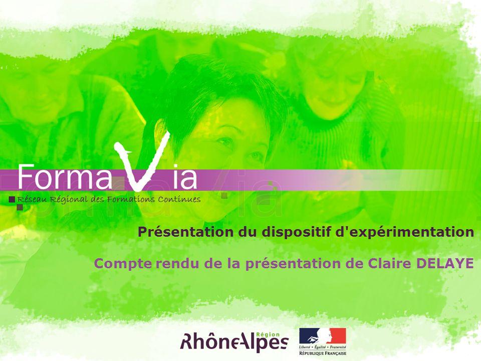 Présentation du dispositif d'expérimentation Compte rendu de la présentation de Claire DELAYE