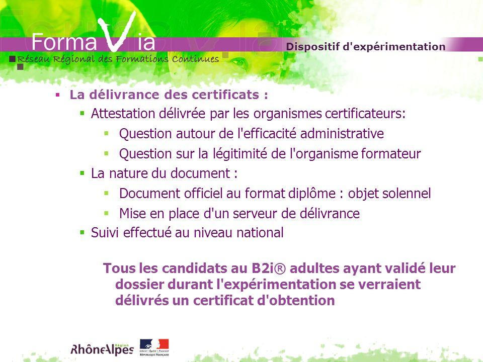 Dispositif d'expérimentation La délivrance des certificats : Attestation délivrée par les organismes certificateurs: Question autour de l'efficacité a