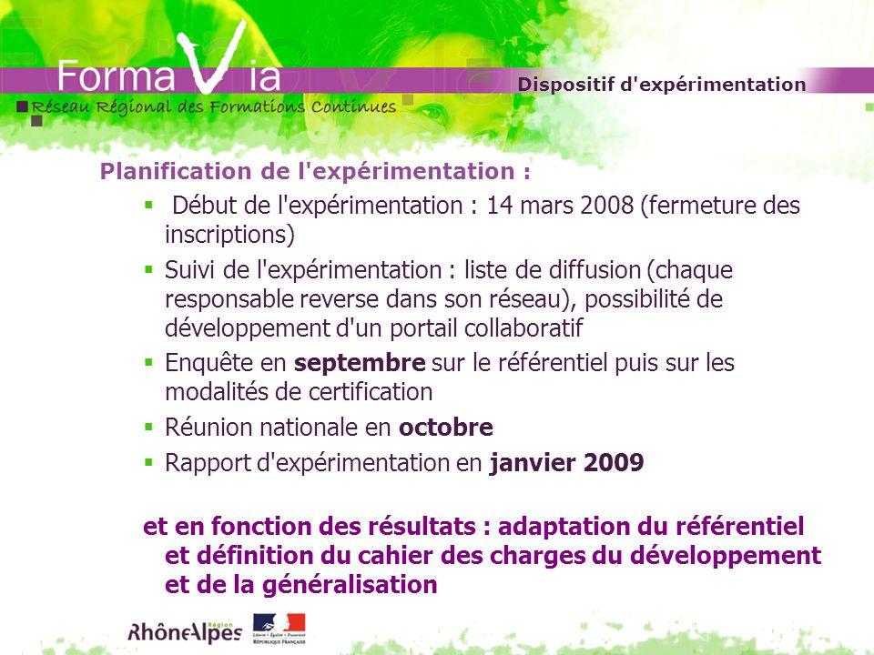 Dispositif d'expérimentation Planification de l'expérimentation : Début de l'expérimentation : 14 mars 2008 (fermeture des inscriptions) Suivi de l'ex