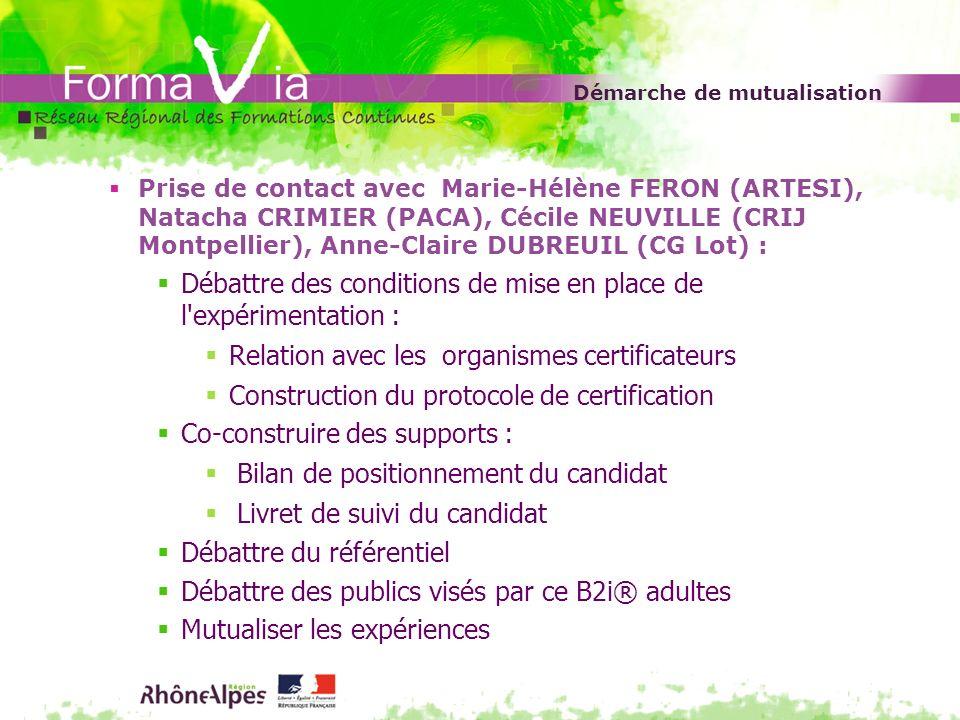 Démarche de mutualisation Prise de contact avec Marie-Hélène FERON (ARTESI), Natacha CRIMIER (PACA), Cécile NEUVILLE (CRIJ Montpellier), Anne-Claire D