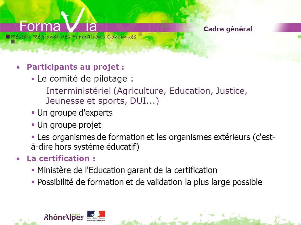 Cadre général Participants au projet : Le comité de pilotage : Interministériel (Agriculture, Education, Justice, Jeunesse et sports, DUI...) Un group