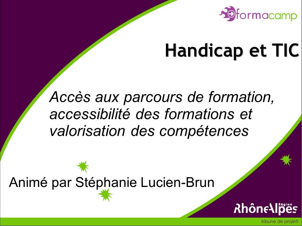 Accès aux parcours de formation, accessibilité des formations et valorisation des compétences Handicap et TIC Animé par Stéphanie Lucien-Brun