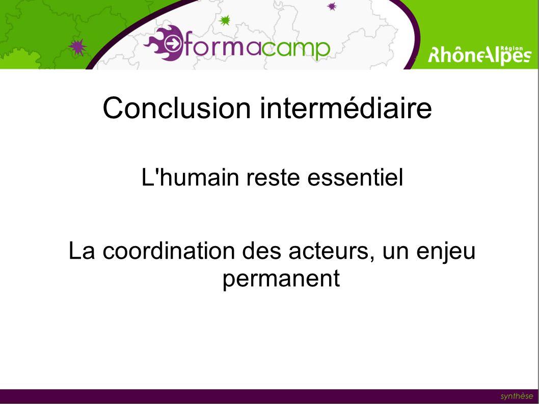 Conclusion intermédiaire L'humain reste essentiel La coordination des acteurs, un enjeu permanent