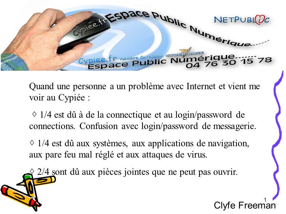 1 Clyfe Freeman Quand une personne a un problème avec Internet et vient me voir au Cypiée : 1/4 est dû à de la connectique et au login/password de con