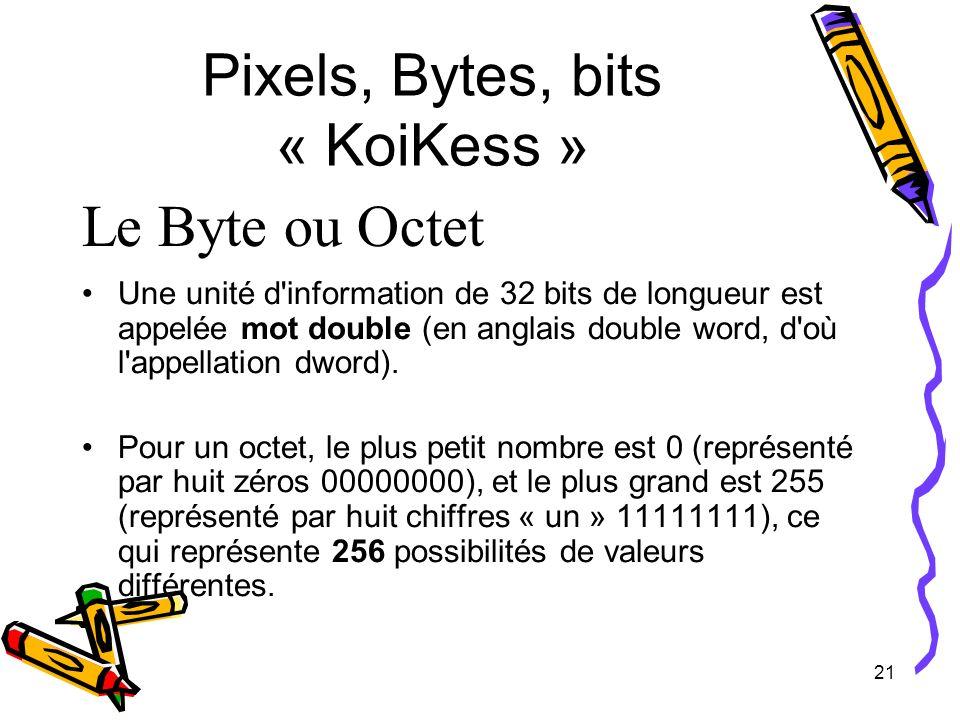 21 Pixels, Bytes, bits « KoiKess » Le Byte ou Octet Une unité d'information de 32 bits de longueur est appelée mot double (en anglais double word, d'o