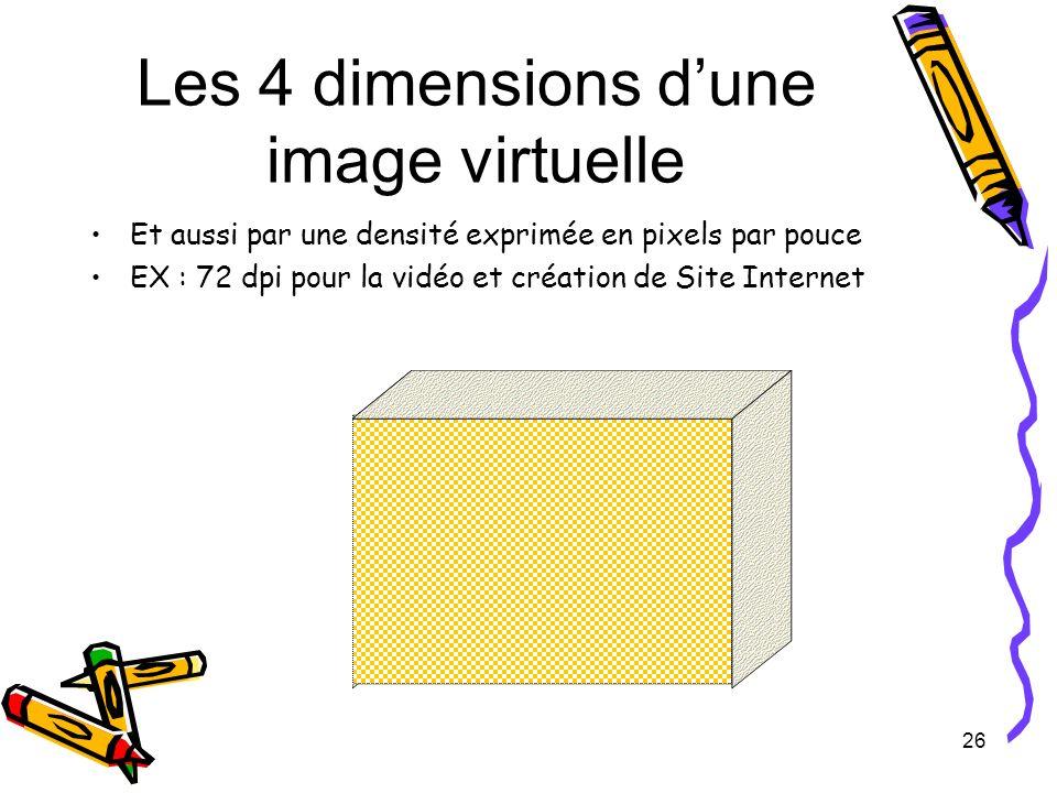 26 Les 4 dimensions dune image virtuelle Et aussi par une densité exprimée en pixels par pouce EX : 72 dpi pour la vidéo et création de Site Internet