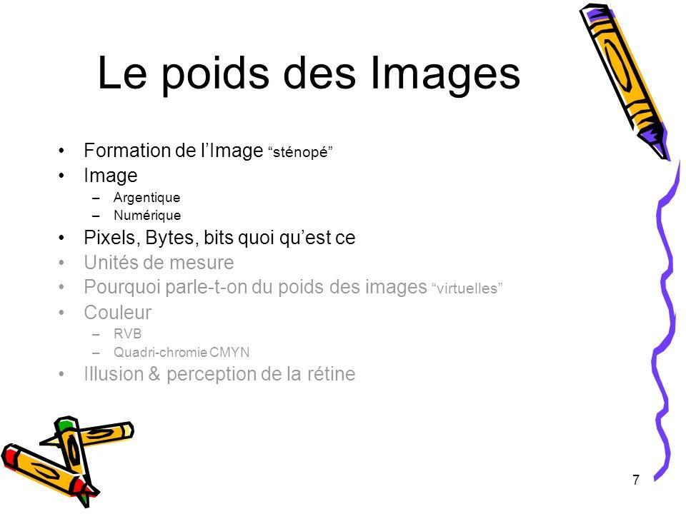7 Le poids des Images Formation de lImage sténopé Image –Argentique –Numérique Pixels, Bytes, bits quoi quest ce Unités de mesure Pourquoi parle-t-on