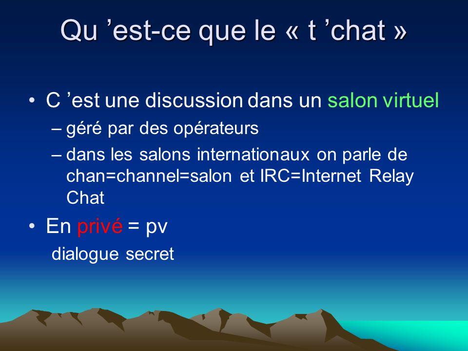 Qu est-ce que le « t chat » C est une discussion dans un salon virtuel –géré par des opérateurs –dans les salons internationaux on parle de chan=channel=salon et IRC=Internet Relay Chat En privé = pv dialogue secret