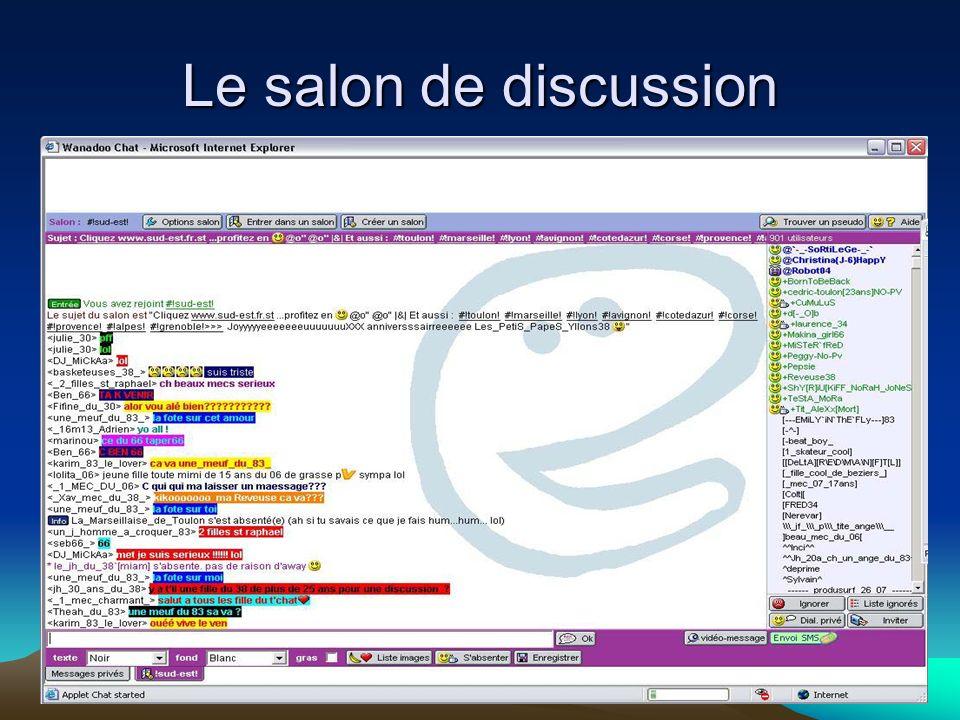 Dans une « t Chatroom » on ne se voit pas mais on se reconnaît –nickname=pseudo –adresse de la machine on respecte la « nétiquette » et ses dix comman