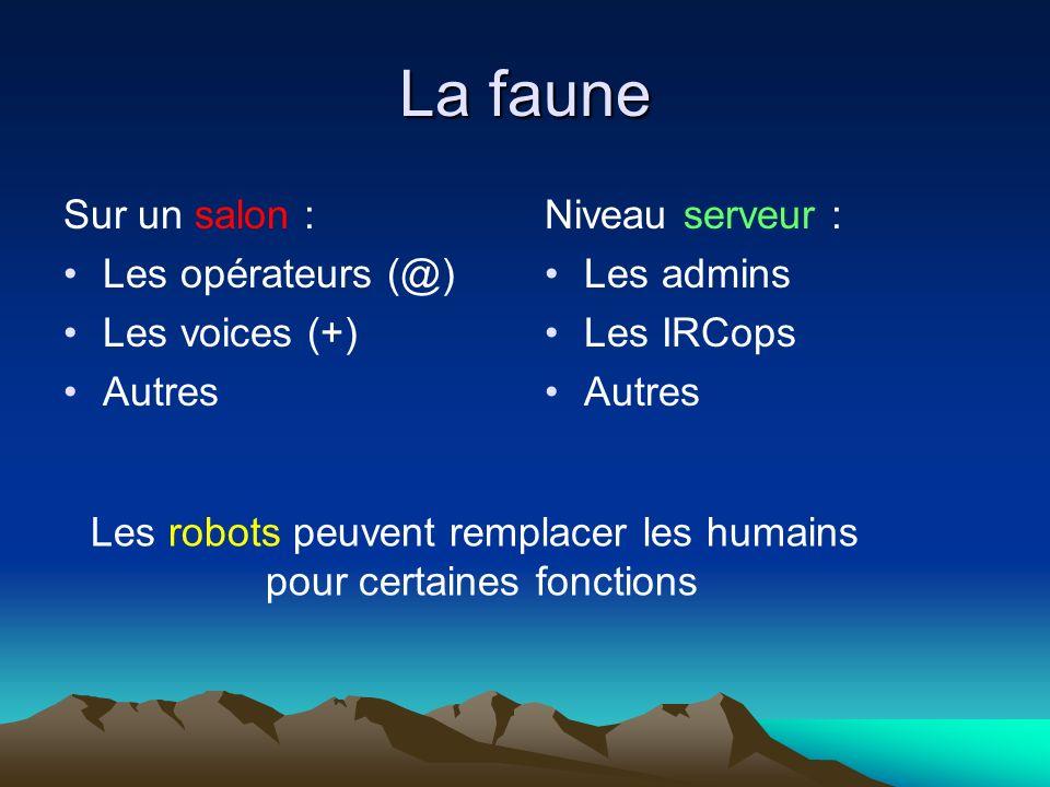 La faune Sur un salon : Les opérateurs (@) Les voices (+) Autres Niveau serveur : Les admins Les IRCops Autres Les robots peuvent remplacer les humains pour certaines fonctions
