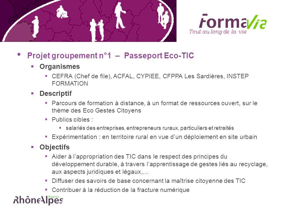 Projet groupement n°1 – Passeport Eco-TIC Organismes CEFRA (Chef de file), ACFAL, CYPIEE, CFPPA Les Sardières, INSTEP FORMATION Descriptif Parcours de