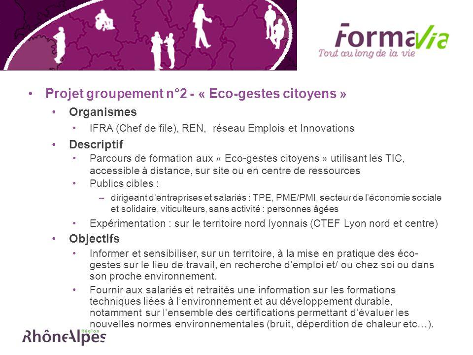 Projet groupement n°2 - « Eco-gestes citoyens » Organismes IFRA (Chef de file), REN, réseau Emplois et Innovations Descriptif Parcours de formation au