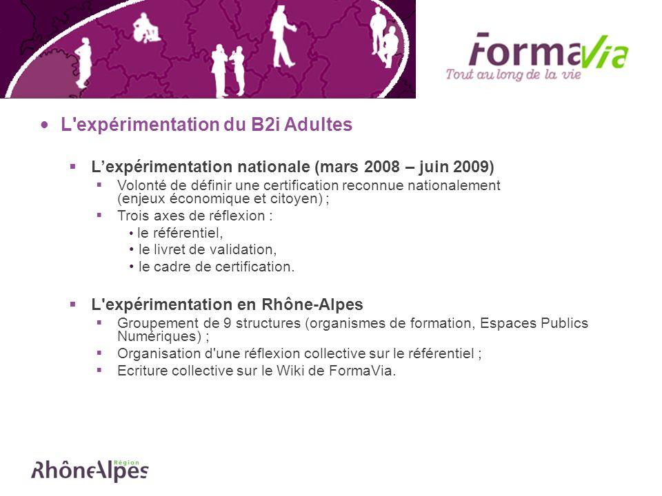L'expérimentation du B2i Adultes Lexpérimentation nationale (mars 2008 – juin 2009) Volonté de définir une certification reconnue nationalement (enjeu