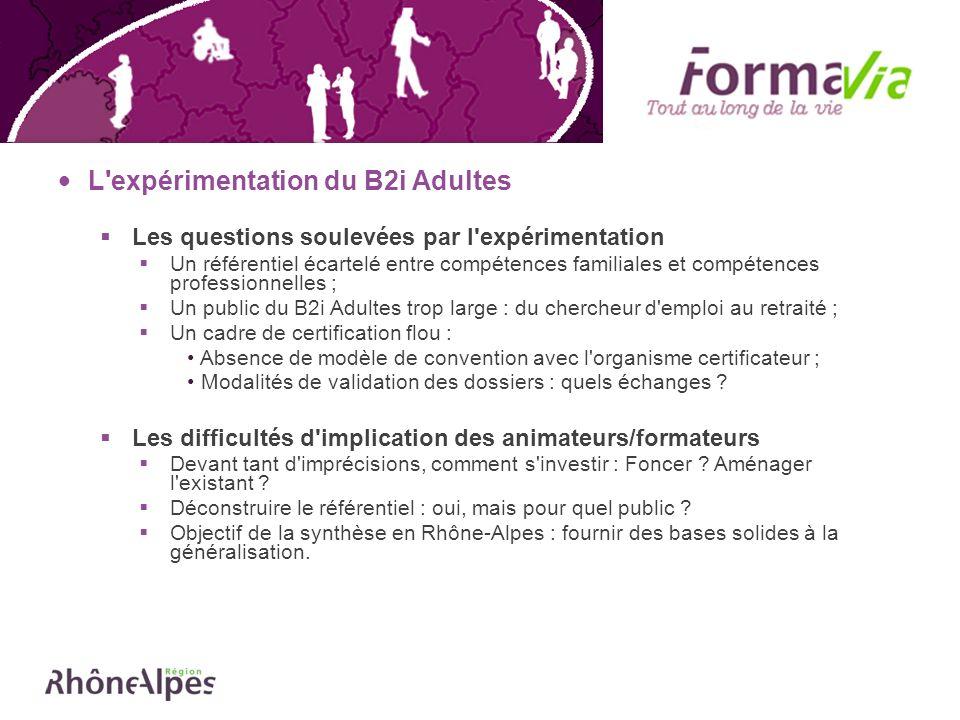L'expérimentation du B2i Adultes Les questions soulevées par l'expérimentation Un référentiel écartelé entre compétences familiales et compétences pro