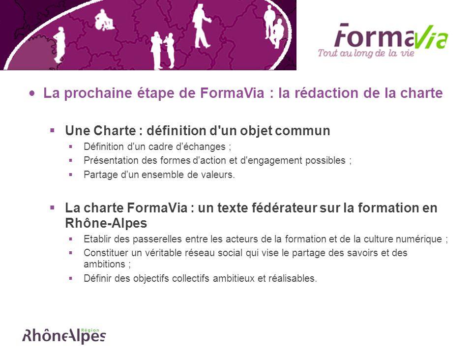 La prochaine étape de FormaVia : la rédaction de la charte Une Charte : définition d'un objet commun Définition d'un cadre d'échanges ; Présentation d
