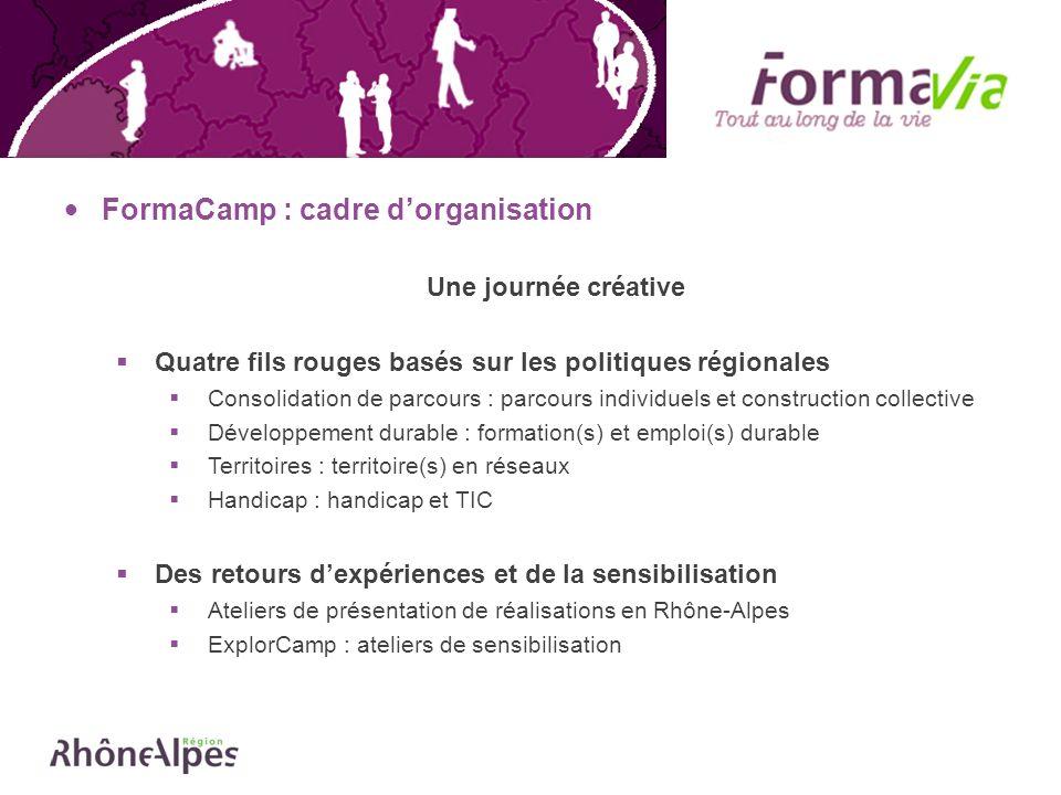 FormaCamp : cadre dorganisation Une journée créative Quatre fils rouges basés sur les politiques régionales Consolidation de parcours : parcours indiv