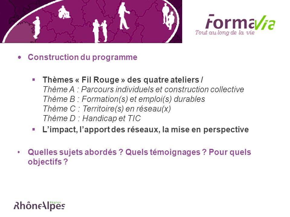 Construction du programme Thèmes « Fil Rouge » des quatre ateliers / Thème A : Parcours individuels et construction collective Thème B : Formation(s)