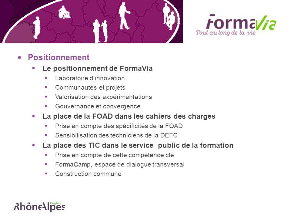 La prochaine étape de FormaVia : la rédaction de la charte Une Charte : définition d un objet commun Définition d un cadre d échanges ; Présentation des formes d action et d engagement possibles ; Partage d un ensemble de valeurs.