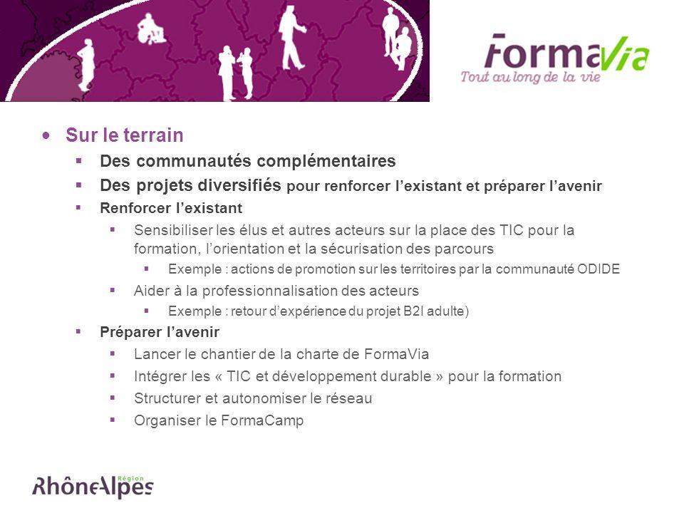 Appel à projets « TIC et DD », lancé par la par la Direction des Transports, Communications et Technologies de lInformation (DTCI), en février 2008 Objectif favoriser le développement de projets reposant sur les piliers du développement durable et sappuyant sur les TIC Cadre politique de développement des Technologies de lInformation et de la Communication (TIC), dénommée SIDERHAL (Société de linformation pour le développement de Rhône-Alpes) votée en déc.